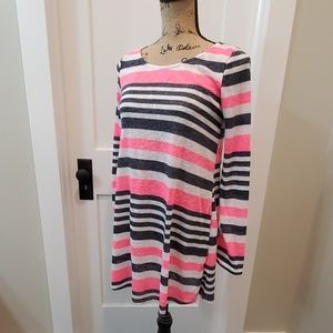 NWT Mon Ami pink & blue stripped tunic sz small